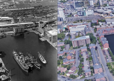 Bute East Dock, old and new comparison